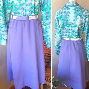 Vintage💜70s Sweet Lavender Belted Midi Skirt!